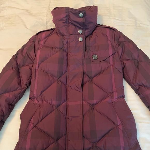 Burberry Brit Purple Plaid Down Coat - XS